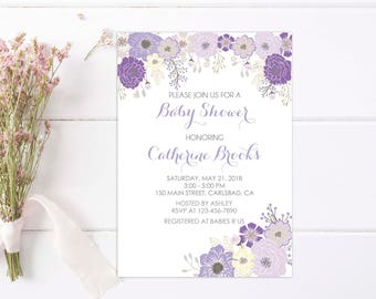 Floral Baby Shower Invitation, Baby Girl Shower. Purple Lavender Floral Invites. Its a girl, baby shower invitation girl. Spring. Printable
