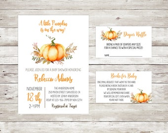 Fall baby shower invitations etsy little pumpkin fall baby shower invitation printable autumn invite pumpkin watercolor fall gender neutral shower filmwisefo