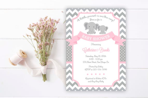 Elephant baby shower invitation elephant baby girl etsy image 0 filmwisefo