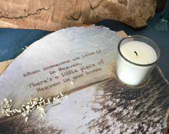 Sympathy, memorial or bereavement candle holder made from reclaimed wood.
