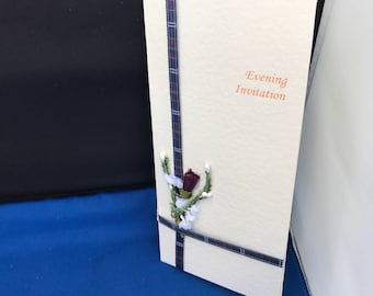 Scottish Wedding Stationery - (Thistle and Tartan) Handcrafted Evening Invitation.