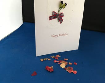 Handmade birthday  card - Scottish themed  birthday card,  with thistle and tartan ribbon. Special occasion card. Personalisation possible