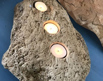 Scottish Reclaimed Driftwood Candleholder with three telights