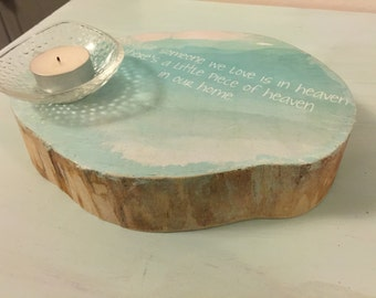 Sympathy Remembrance candle holder with quote - when someone we love is in Heaven, theres a little piece of heaven in our Home.