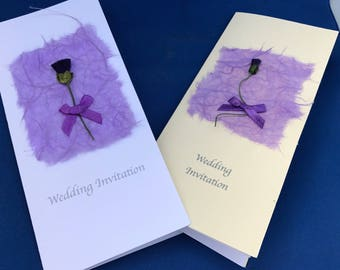 Scottish Wedding Stationery (Thistle & Mullberry paper) Handcrafted Day & Evening invitations.