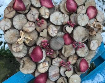 Personalised wooden wedding heart wallhanging keepsake
