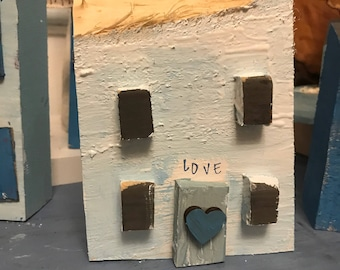Reclaimed Wooden Driftwood House Seaside cottage; New home gift; Fifth anniversary,Housewarming gift, Ethical Wedding Gift