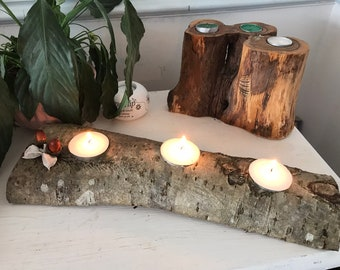 Reclaimed wooden log candleholder; Perfect as Christmas centrepiece