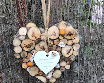 Personalised wedding heart wallhanging. Reclaimed gift, rustic wedding gift, ethical wedding, Scottish wooden gift