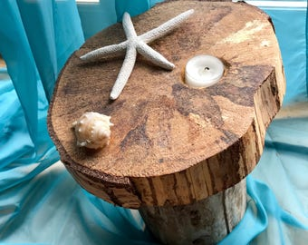Reclaimed Scottish  Wood Candle holder - Coastal rustic tree stump design.