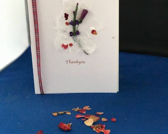 Handmade Thankyou card, Scottish themed card with thistle and tartan ribbon. Personalisation possible.