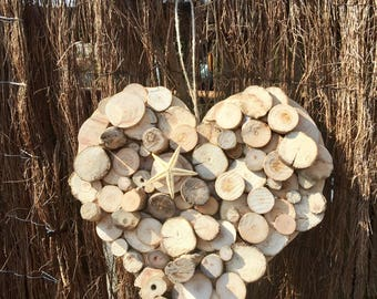 Heart shaped wall hanging, Perfect Valentine Gift, starfish themed, made from reclaimed wood