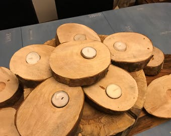 Rustic Wedding Candleholders; Rustic Slice set of 8, made from reclaimed wood, ethical wedding table centrepiece.