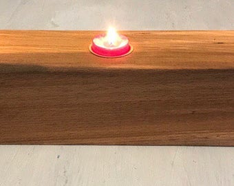 Reclaimed Wooden tealight candle holder; Dining Table Centrepiece