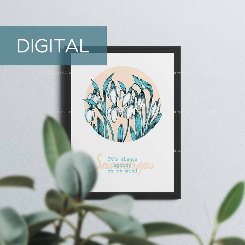 Digital Illustration Snowdrops Flowers Art Poster Printable image 0