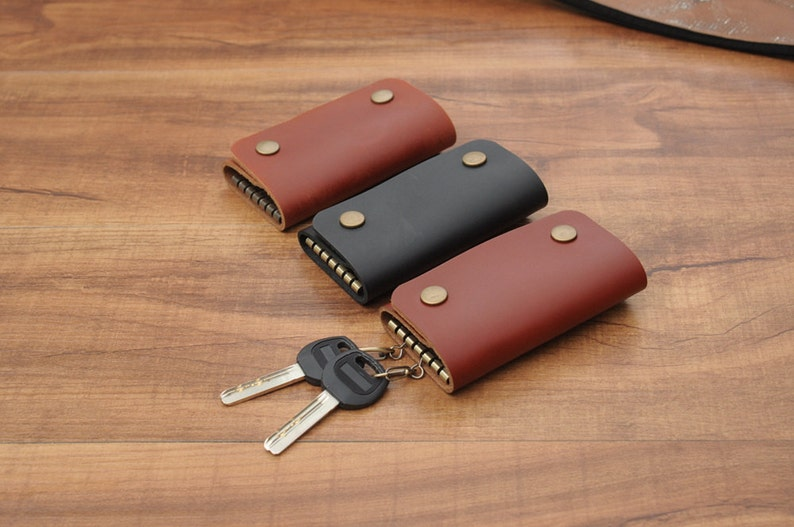 Leather Key Holder Leather Key Case In Brown And Black Key Chain  Purse Case  Gift For Men And Women L-061