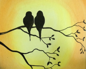 """18""""x24"""" Abstract Painting of Birds in a Tree"""