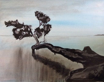 """16""""x20"""" Abstract Painting of Bonsai Tree"""