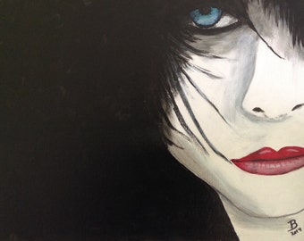 """20""""x16"""" Abstract Painting of Wpman worth Blue eye and Red lips #16"""