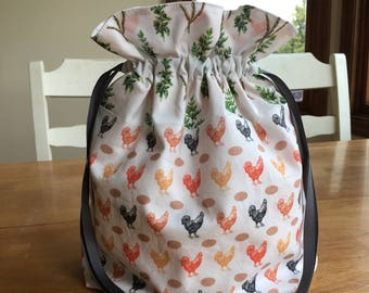 Chicken project bag ~ Knitting bag ~ Drawstring bag