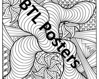 Abstract Printable Colouring Poster 2