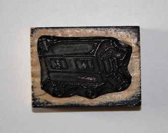 Wooden rubber stamp: the trailer
