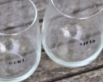 Soul sister gift best friend gift best friend wine glasses hand stamped personalized gift bff gift for best friend gift for her sister gift