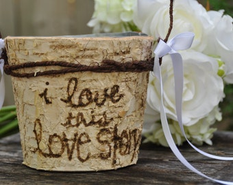 Rustic flower girl basket rustic wedding country wedding basket rustic basket shabby chic wedding personalized birch flower holder