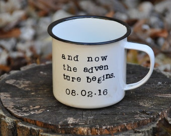 Camping mug enamel mug coffee mug camp mug coffee cup enamel camping mug personalized mug adventure mug campfire enamelware gift for him