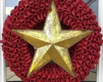 Extra large Dark Red with Gold fleck Burlap petal wreath
