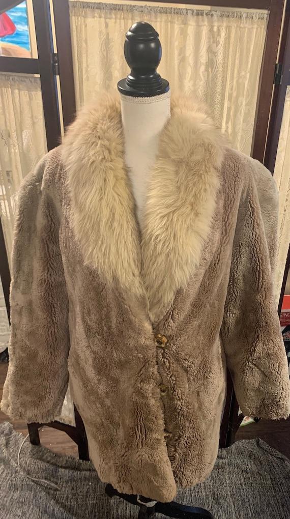 Vintage Woman's Courreges Paris Faux Fur Coat Genu