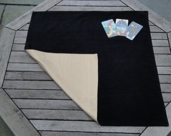 Large Tarot, Oracle, Rune Reading Cloth / Spread Cloth in Cotton Velvet lined with Dupion Silk - Made to Order - choice of colours