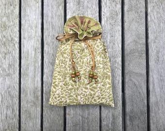 Olive: Handmade Tarot / Oracle / Keepsake Bag Lined with Lime Shimmer Dupion Silk