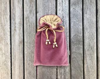 Damson Pink Cotton Velvet Tarot / Oracle / Keepsake Bag Lined with Antique Gold Dupion Silk
