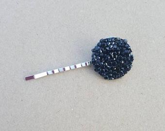 Black gemstone Hair Pins (set of 2), hair pins, flower pins, gemstone hair pin,girl hair, hair pin, bobby pin