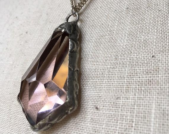 Tiffany solder Necklace, crystal necklace, crystal rose chandelier necklace, vintage chandelier necklace, necklace, vintage necklace