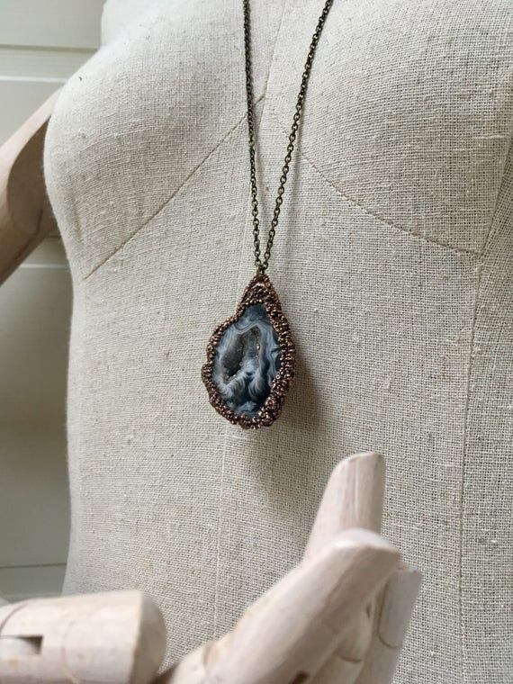 Geode Necklace , Electroformed Necklace, Electroformed Jewelry, Copper Crystal Necklace , Gypsy Necklace, Healing Stone