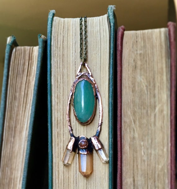 Crystal Necklace , statement Necklace, electroformed necklace, Copper Necklace , crystals, Pendant, healing stone, starburst necklace