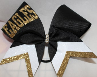 4ed277e4852a Cheer Bow Custom YOUR School Team Bows Old Gold Vegas Gold Black White  Silver ANy colors by BlingItOnCheerBowz