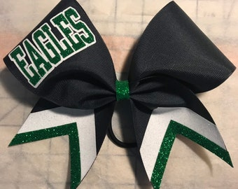 71bd73017d0c Cheer Bow Black with kelly green and White glitter - any colors and  lettering by BlingItOnCheerBowz Blingitoncheerbowz