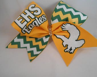 Cheer Bow Custom YOUR School and Mascot Team Bows by BlingItOnCheerBowz Green Yellow Gold