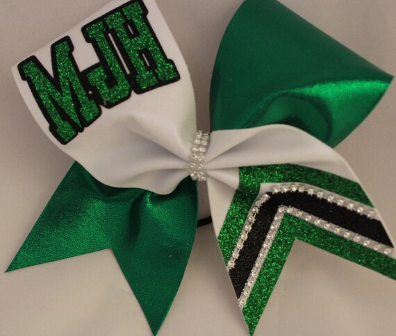 Personalized School colors name SENIOR Spandex Cheer Hair Bow