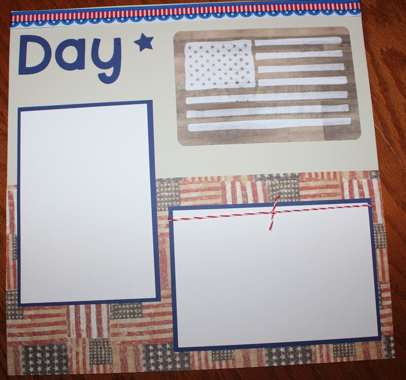 Military scrapbook layout Memorial Day 12 x 12 premade scrapbook layout handmade 3D double page photo ready