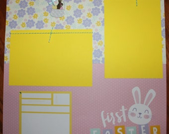 12 x 12 Easter premade scrapbook layout titled first Easter, baby's first Easter handmade scrapbook layout, Easter scrapbook layout