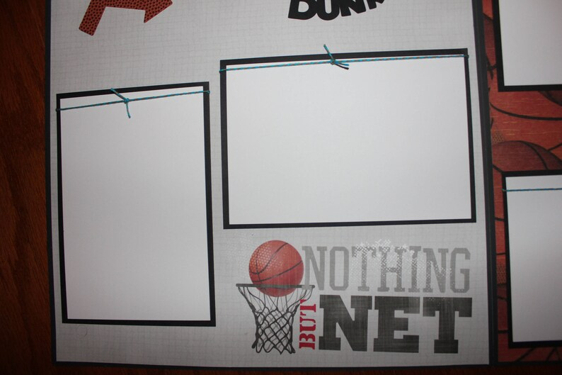 12 x 12 premade basketball scrapbook layout titled Slam Dunk double paged 3 d handmade fully essembled basketball scrapbook layout
