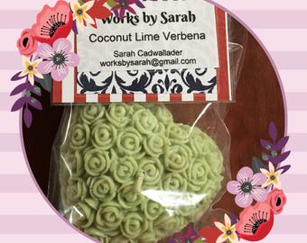 COCONUT LIME VERBENA heart candle