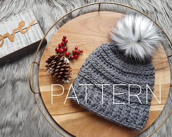 Chunky Ribbed Slightly Slouchy Crochet Beanie Pattern-Instant Download
