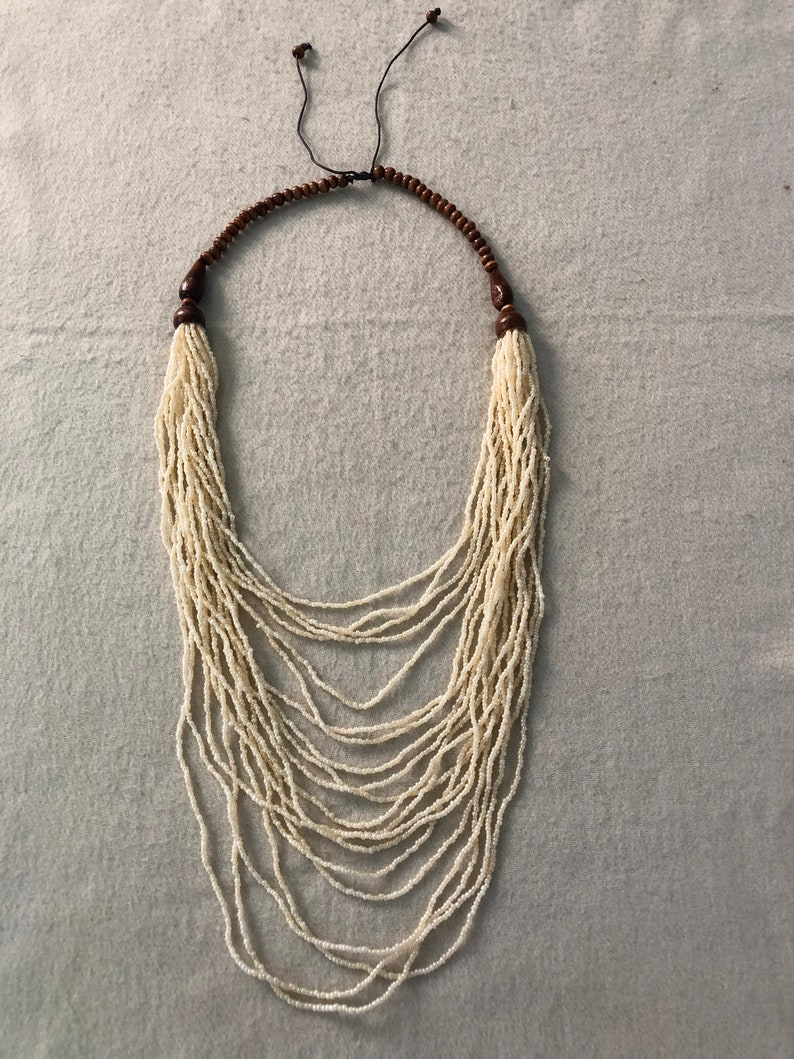 Gradual Necklace.Statement Necklace.WOOD And Bead Necklace.NEW Adjustable Multi Strand Multi Layered Ivory Cream Seed Beads Beaded Necklace