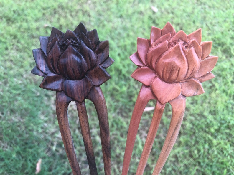 Handmade HAIR JEWELRY PIN STICK carved ABALONE SHELL Metal Sono wood FLOWER new