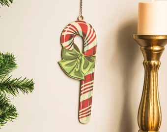 Retro Christmas Decoration candy cane wall hanging kitsch festive decor wooden laser cut